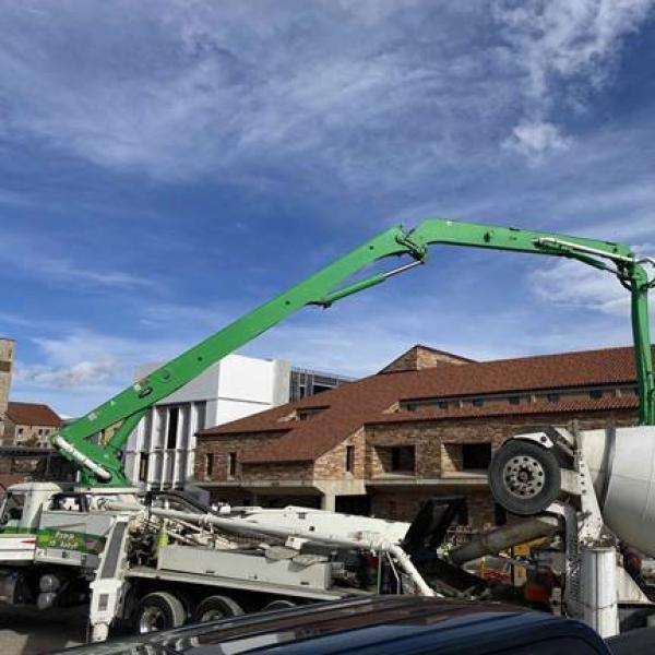 engineering auditorium north expansion crane and cement truck