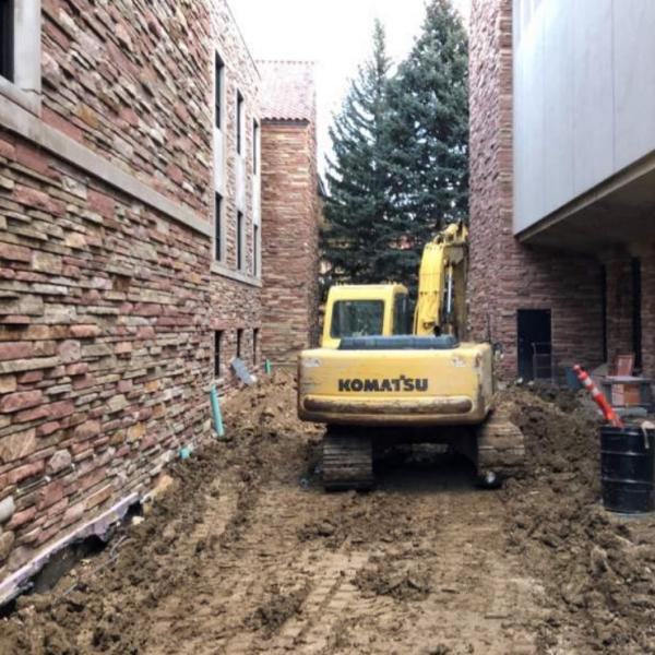 Ground construction between Norlin library and Ramaley