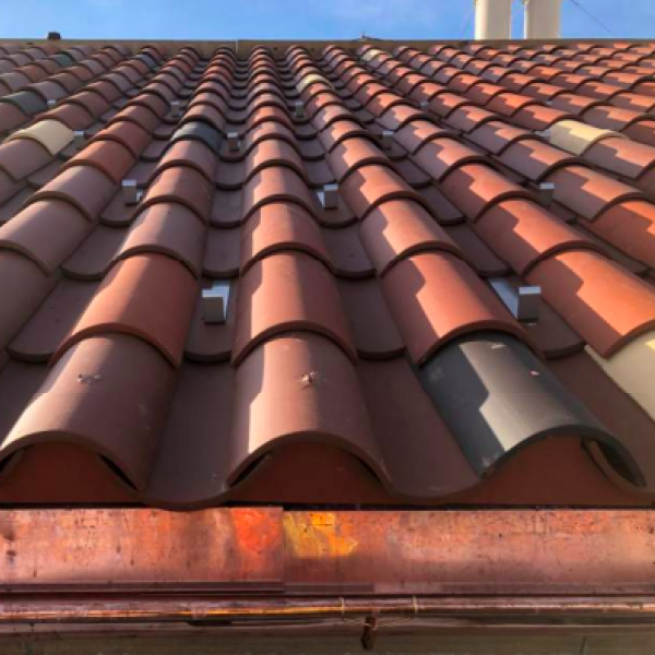 close up of clay roof tiles