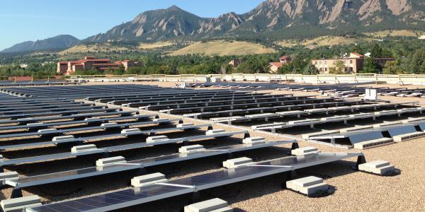 Solar panels on CU-Boulder's Coors Events Center