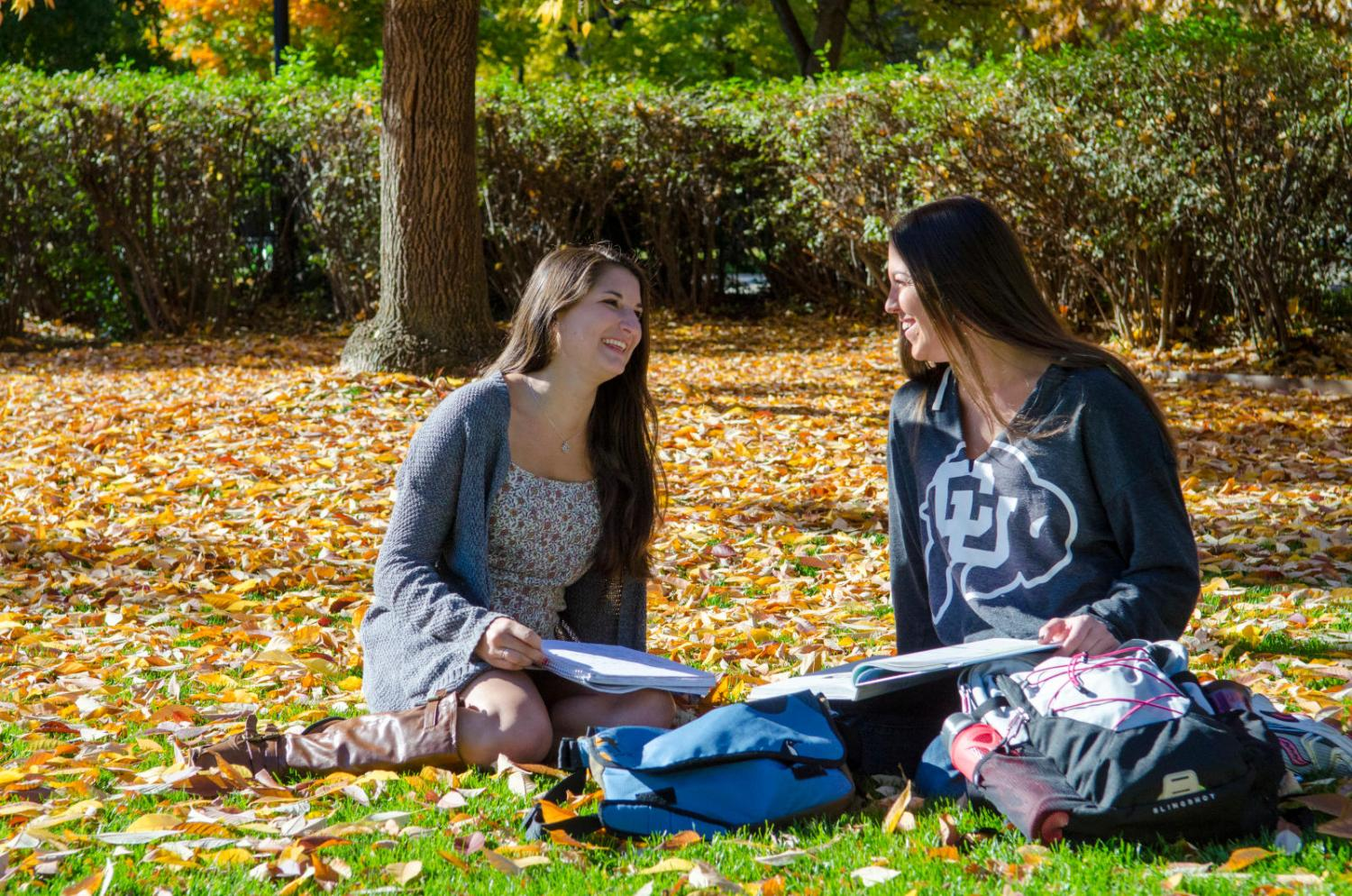 Students in the fall leaves