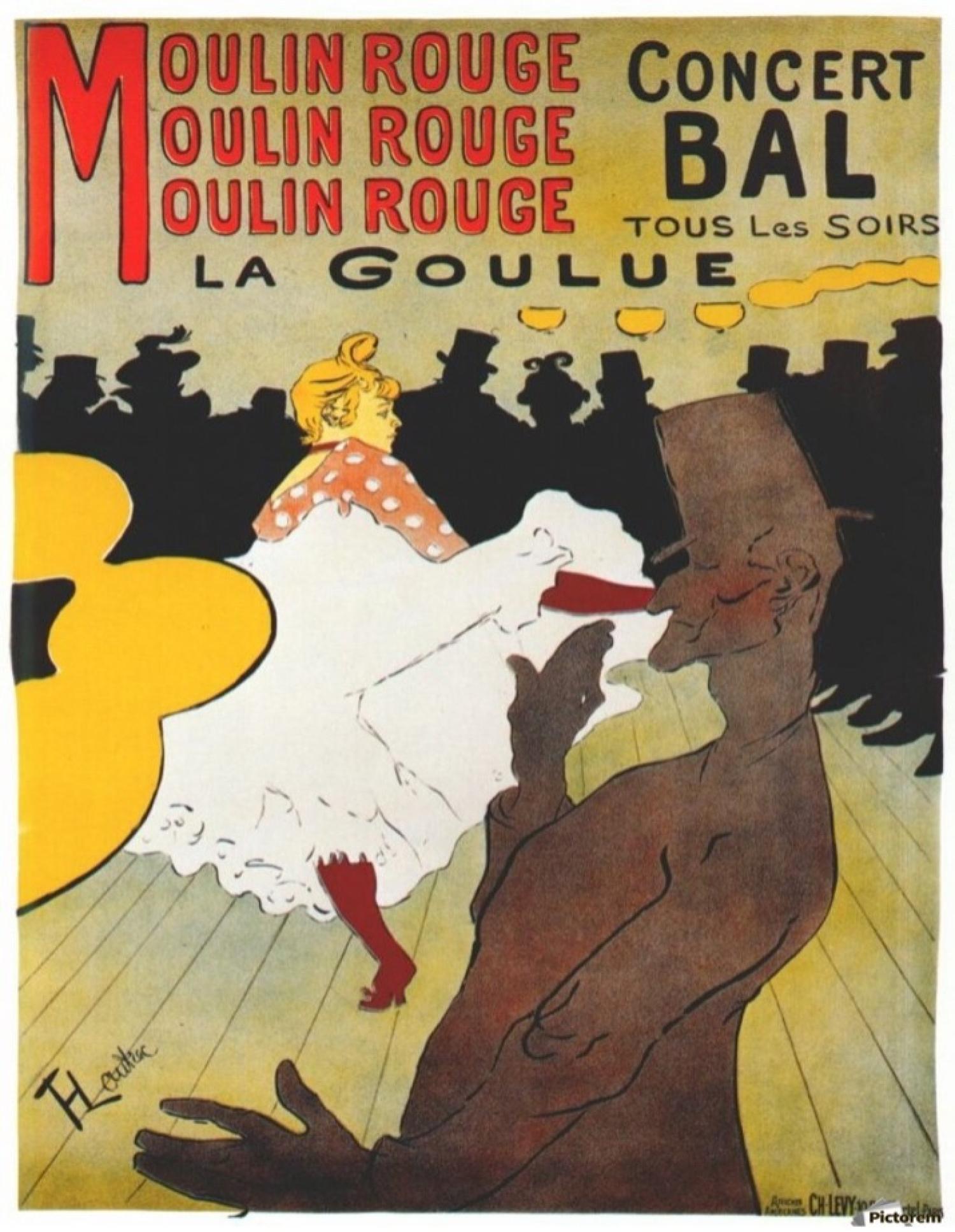 postcard illustration of moulin rouge