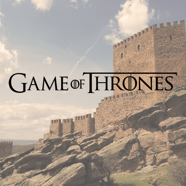 Game of Thrones logo with castle in the background