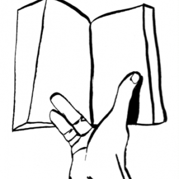 illustration of hand holding book