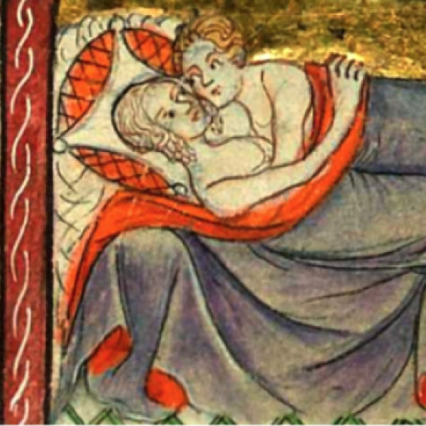 medieval painting of couple in bed