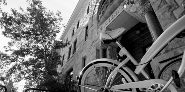 bicycle in front of the Woodbury building