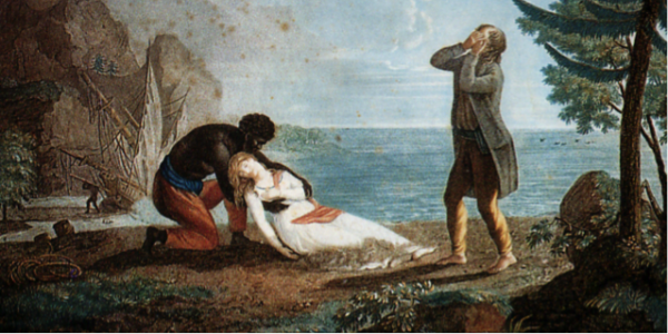 French painting of sick woman and men crying