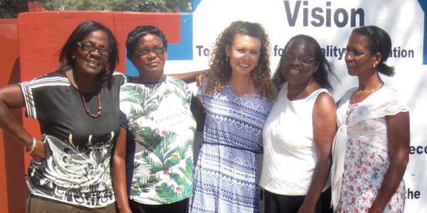 Emma Carroll with women from Namibia village