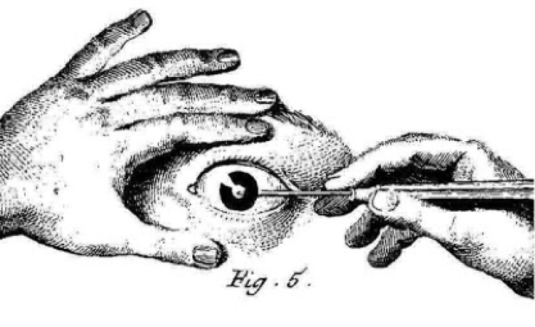 Drawing of a hand painting an eye