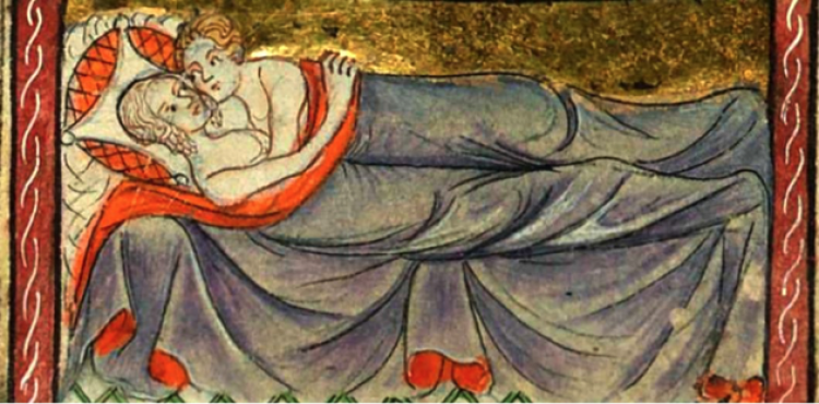 medieval painting of two people laying in bed