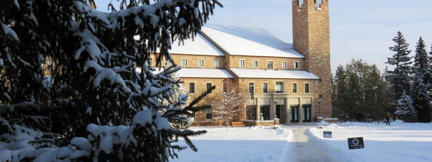 Image of the Eaton Humanities building on a snowy day