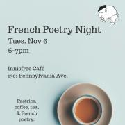 French poetry night poster with picture of coffee