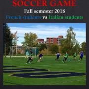 Soccer game poster showing students playing soccer