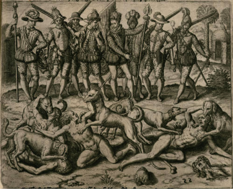Image of the fierce dogs attacking and devouring several nearly naked and apparently male-bodied indigenous people in the lower field while Balboa and his conquistadors, elaborately decorated and posed, look on from above