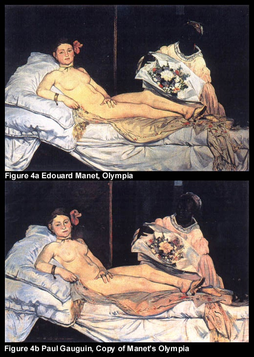 FIgure 4a Edouard Manet, Olympia; Figure 4b Paul Gauguin, Copy of Manet's Olympia