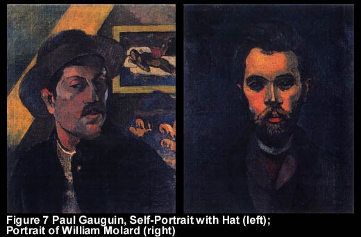 Figure 7 Paul Gauguin, Self-Portrait with Hat (left); Portrait of William Molard (right)