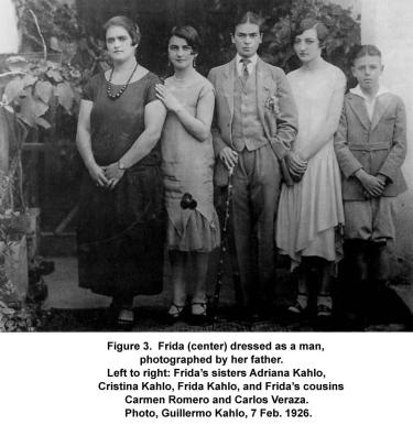 Frida's sisters Adriana Kahlo, Christina Kahlo, Frida Kahlo, and Frida's cousins Carmen Romero and Carlos Veraza. Photo, Guillermo Kahlo, 7 Feb. 1926.