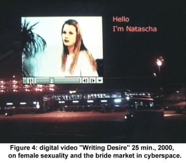 "digital video ""Writing Desire"" 25 min., 2000, on female sexuality and the bride market in cyberspace."