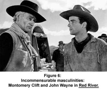 Montgomery Clift and John Wayne in Red River.