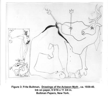 Fritz Bultman, Drawings of the Actaeon Myth, ca. 1939-40. Ink on paper, 9 5/16 x 11 3/4 in. Bultman Papers, New York.