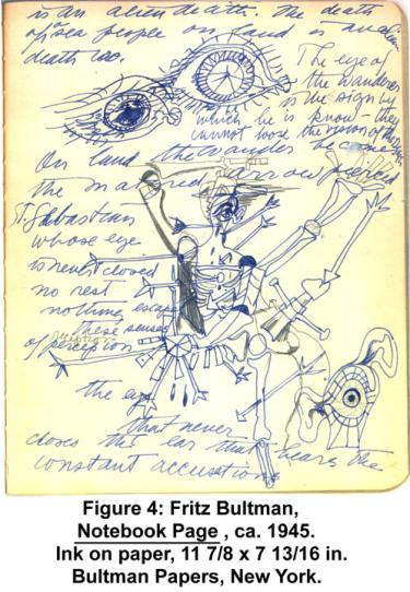 Fritz Bultman, Notebook Page, ca. 1945. Ink on paper, 11 7/8 x 7 13/16 in. Bultman Papers, New York.