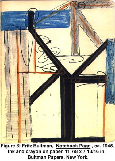 Fritz Bultman, Notebook Page, ca. 1945. Ink and crayon on paper, 11 7/8 x 7 13/16 in. Bultman Papers, New York.