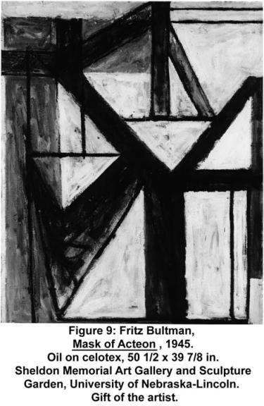 Fritz Bultman, Mask of Acteon, 1945. Oil on celotex, 50 1/2 x 39 7/8 in. Sheldon Memorial Art Gallery and Sculpture Garden, University of Nebraska-Lincoln. Gift of the artist.