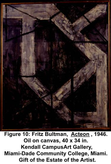 Fritz Bultman, Acteon, 1946. Oil on canvas, 40 x 34 in. Kendall CampusArt Gallery, Miami-Dade Community College, Miami. Gift of the Estate of the Artist.