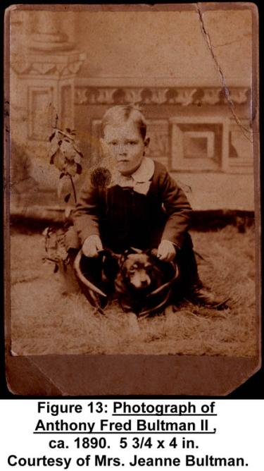 Photograph of Anthony Fred Bultman II, ca. 1890. 5 3/4 x 4 in. Courtesy of Mrs. Jeanne Bultman