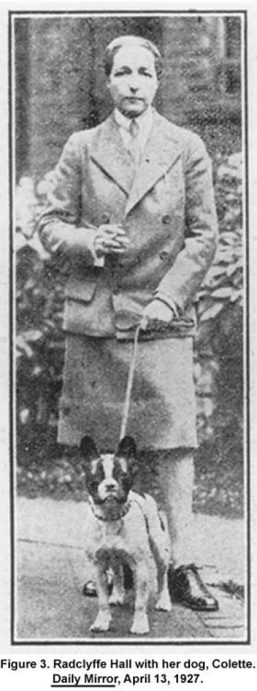 Radclyffe Hall with her dog, Collette. Daily Mirror, April 13, 1927.
