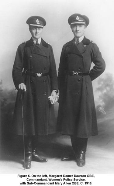 On the left, Margaret Damer Dawson OBE, Commandant, Women's Police Service, with Sub-Commandant Mary Allen OBE. C. 1916.