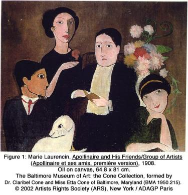 Marie Laurencin, Appolinaire and His Friends/Group of Artists (Appolinaire et ses amis, première version), 1908. Oil on canvas, 64.8 x 81 cm. The Baltimore Museum of Art: the Cone Collection, formed by Dr. Claribel Cone and Miss Etta Cone of Baltimore, Maryland (BMA 1950.215). © 2002 Artists Rights Society (ARS), New York / ADAGP Paris
