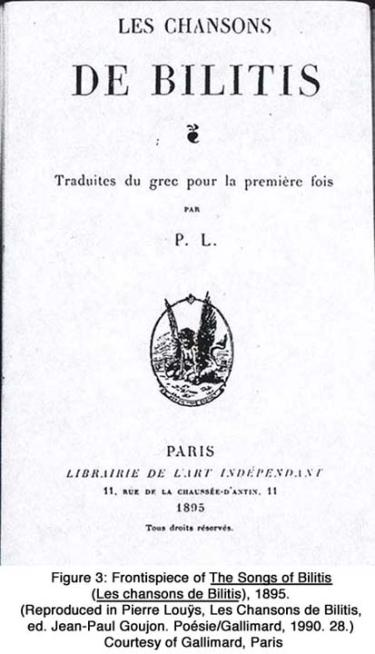Frontispiece of The Songs of Bilitis (Les chansons de Bilitis), 1895. (Reproduced in Pierre Louÿs, Les Chansons de Bilitis, ed. Jean-Paul Goujon. Poésie/Gallimard. 1990. 28.) Courtesy of Gallimard, Paris