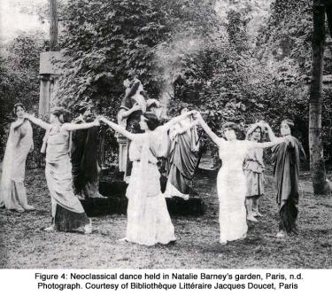 Neoclassical dance held in Natalie Barney's garden, Paris, n.d. Photograph. Courtesy of Bibliothèque Littéraire Jacques Doucet, Paris
