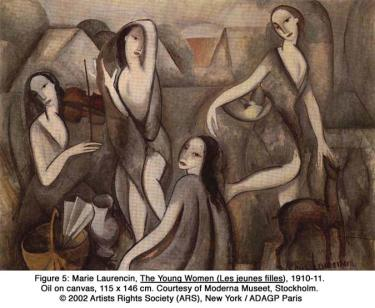 Marie Laurencin, The Young Women (Les jeunes filles), c 1910-11. Oil on canvas, 115 x 146 cm. Courtesy of Moderna Museet, Stockholm. © 2002 Artists Rights Society (ARS), New York / ADAGP Paris