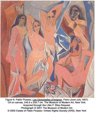 Pablo Picasso, Les Demoiselles d'Avignon, Paris (June-July 1907). Oil on canvas, 243.9 x 233.7 cm. The Museum of Modern Art, New York. Acquired through the Lillie P. Bliss Request. Photograph © 2001 The Museum of Modern Art. © 2002 Estate of Pablo Picasso / Artists Rights Society (ARS), New York