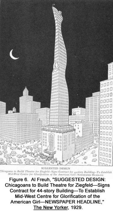 """Chicagoans to Build Theater for Ziegfeld–Signs Contract for 44-story Building–To Establish Mid-West Centre for Glorification of the American Girl–NEWSPAPER HEADLINE,"""" The New Yorker, 1929"""