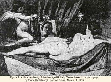 Artists's rendering of the damaged Rokeby Venus, based on a photograph by Franz Hanfstaeng
