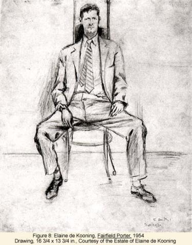 Elaine de Kooning, Fairfield Porter, 1954 Drawing
