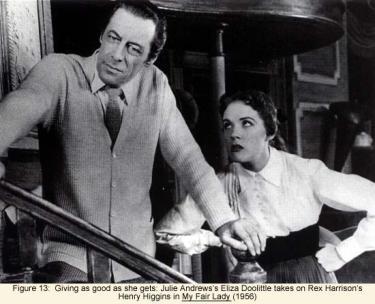 Julie Andrews as Eliza Doolittle takes on Rex Harrison's Henry Higgins in My Fair Lady (1956)