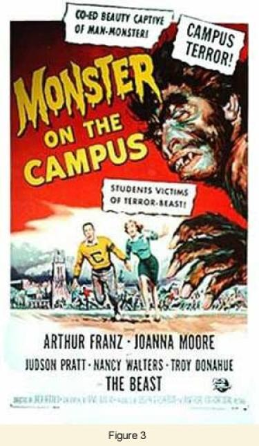 """Movie poster - """"Monster on the Campus"""""""