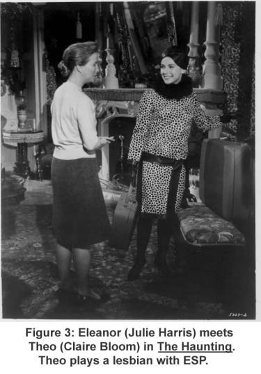 Eleanor (Julie Harris) meets Theo (Claire Bloom) in The Haunting. Theo plays a lesbian with ESP.