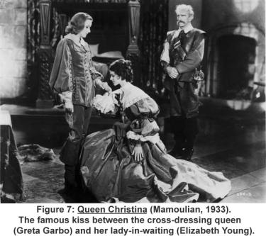 Queen Christina (Mamoulian, 1933). The famous kiss between the cross-dressing queen (Greta Garbo) and her lady-in-waiting (Elizabeth Young).