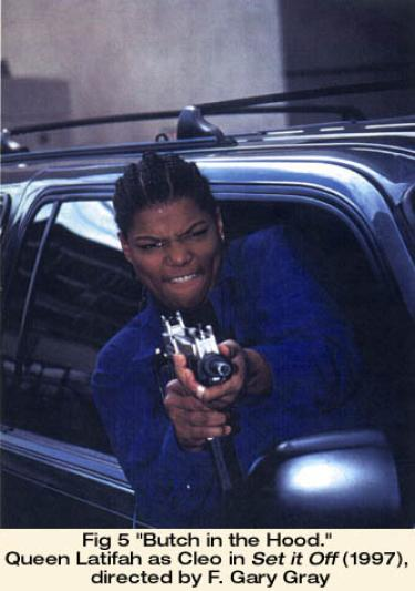 """""""Butch in the Hood."""" Queen Latifah as Cleo in Set it Off (1997), directed by F. Gary Gray"""