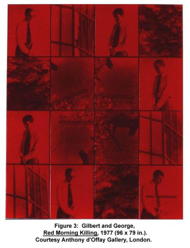 Gilbert and George, Red Morning Killing, 1977 (96 x 79 in.). Courtesy Anthony d'Offay Gallery, London.
