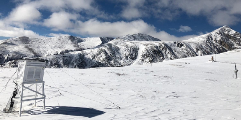 Snow covered mountain scene