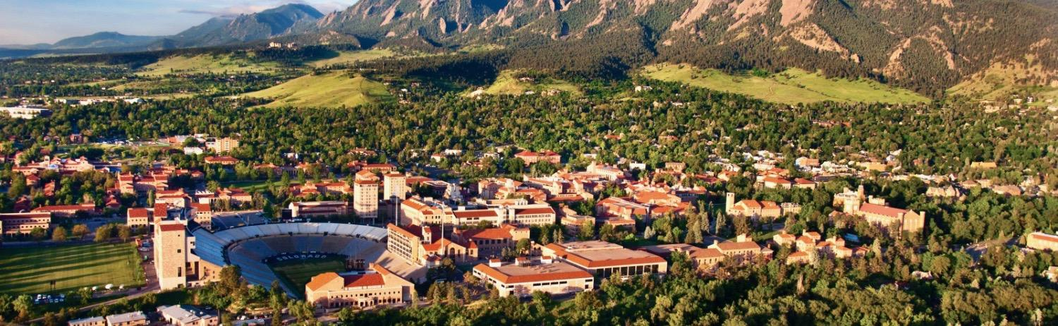 Aerial photo of CU Boulder campus
