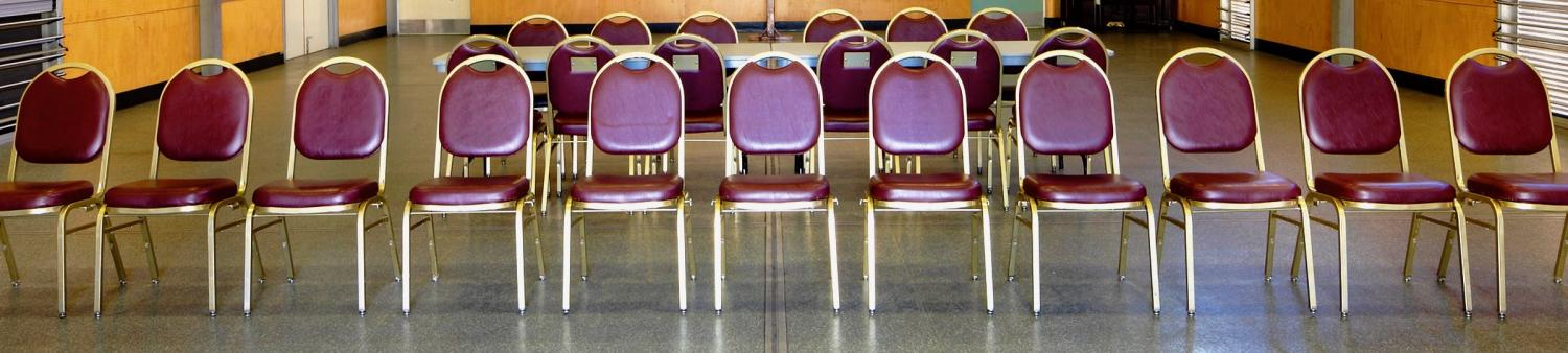 A row of empty chairs
