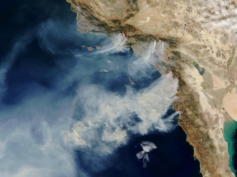 Satellite image of wildfires in California