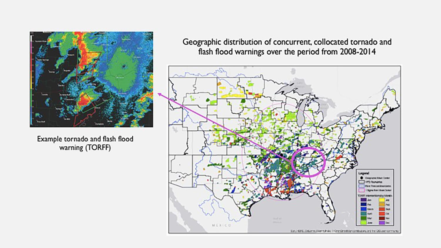 Map of geographical distribution of tornado and flash flood warnings